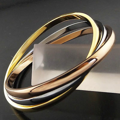 Fsa727 Genuine Real 18K Yellow Rose White G/f Gold Russian Style Bangle Bracelet