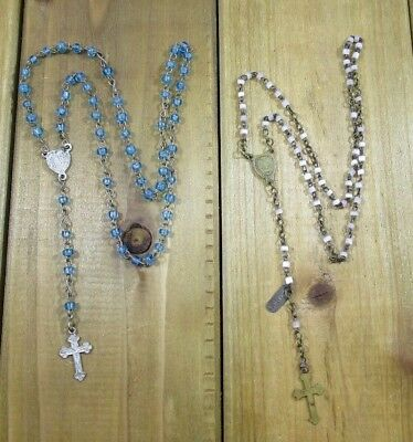Rosary Religious Catholic Child Size Small Vintage Silver Cross Lot of 2 | 6.7 g