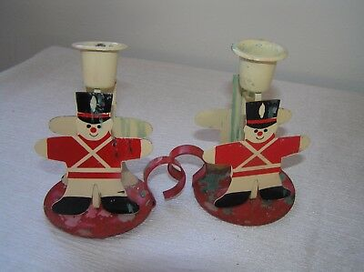 Vintage Pair of Cream & Red Painted Metal Tin Soldier Candle Stick Holders –