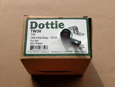 Dottie TW38 ~ 3/8-Inch One Hole Strap18 GA For BX Zinc Plated 100-Pack