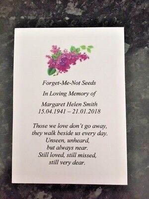 10 Personalised Forget-Me-Not Seeds Funeral,Memorial,In Memory of, Lilac Bouquet