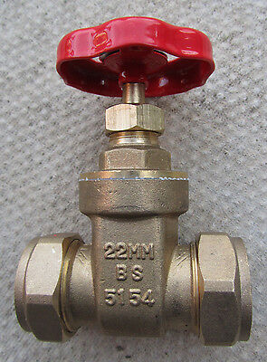 22mm Compression gate valves - 6 off for sale only 1 shown