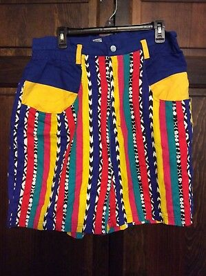 Vintage 80s Gitano Shorts Vibrant Bright Stripes  High Waist Size 20 Plus
