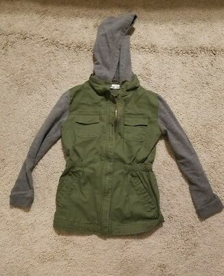 Girl's light weight hooded jacket, olive green & gray, size Small