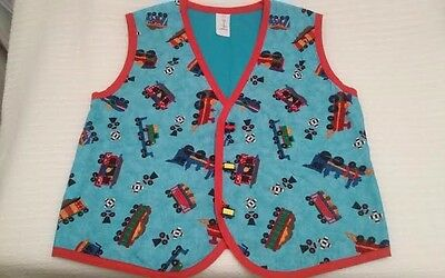 Child's Train Vest - Handmade by Sandy Size Kids Large Train Buttons Blue & Red