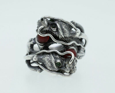 Antique SILVER Oriental Chinese Double Dragon Jade Ring Export Quality