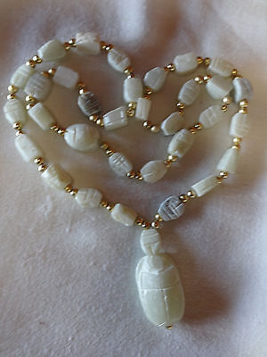 Vintage White Soapstone Scarab Beetle Egyptian Marmar Bead Necklace