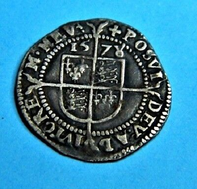 (3P) Tudor Period 1578/7 Elizabeth 1St Silver Threepence Rose Beside Bust.nice