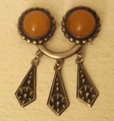 "Vintage Latvian Ethnic Brooch ""Sakta"" , Sterling Silver 875 with Amber"