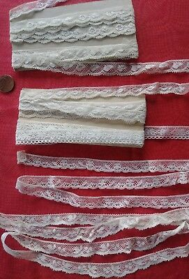 "Lot of 6 similar .5"" wide Antique French Val lace Vintage trim almost 8 yards"