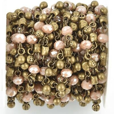 1 yard Crystal Bead Chain 6mm BRONZE with MUSHROOM BROWN Rondelle fch0912a