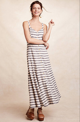 83394a0217ef2 NEW Anthropologie Maeve Striped Linen Maxi Dress Grey Ivory Button Front  $178 4