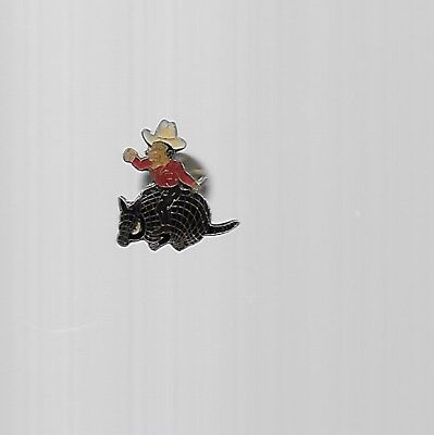 Vintage, Cowboy Riding an Armadillo hat/lapel pin; USED