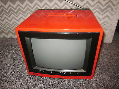 "VINTAGE 1987 RCA MODEL XL100 SQUARE 9"" TELEVISION in RED FULLY FUNCTIONING"