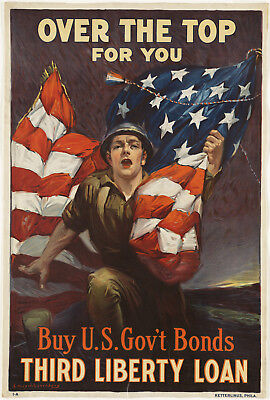 """1940s """"Over The Top For You Buy U.S. Bonds"""" Vintage Style WW2 Army 12x17 Poster"""