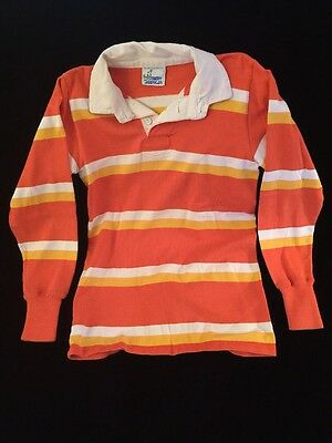Authentic Vintage RUGBY AMERICAN Shirt Striped Rugby Kit UNISEX M Orange Yellow
