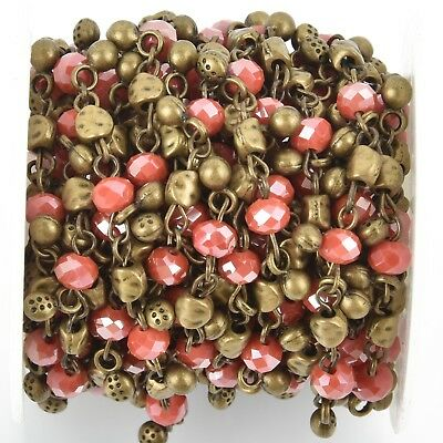 1 yard Crystal Bead Chain 6mm BRONZE with CORAL RED Rondelle fch0914a