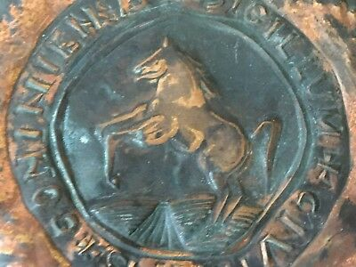Vintage To Antique Handmade Copper Rearing Horse Latin Seal Medallion Wall Decor