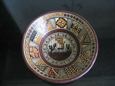 Rustic Pottery Bowl with Aztec Type Design