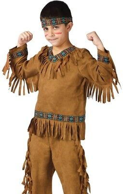 Child Boys Native American Indian Brave Warrior Costume S 4-6, M 8-10, L 12-14