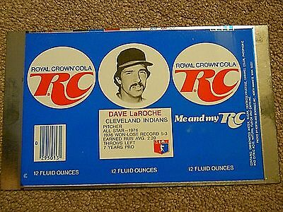 Vintage RC Cola Flat Can with Dave LaRoche of the Cleveland Baseball Team -1976