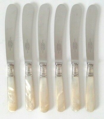 Vintage Antique Set Of 6 Mother Of Pearl & White Metal Collar Butter Spreaders