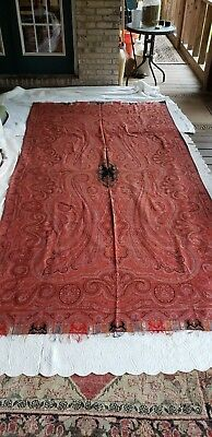 """Large Vintage Antique Wool Paisley Shawl 62"""" x 120"""" Reds, etc. Small Black Ctr"""