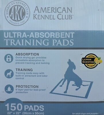 """American Kennel Club AKC63865 Lemon Scent 22"""" x 22"""" 2 Boxes of 150 Pads"""