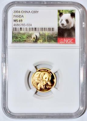 2004 China 50 Yuan Gold Panda Coin NGC/NCS MS69  Conserved!!  Red Label!!