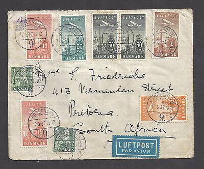 Denmark Flight Cover With Set of 1934 Airmail Stamps to South Africa