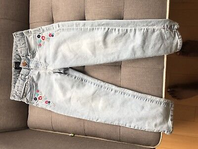 Gap Kids Girl's Super Skinny Fit light blue denim jeans with flower embroidery