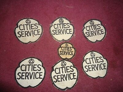 Vintage Cities Service  Embroided Uniform Patch  Lot Of (7)