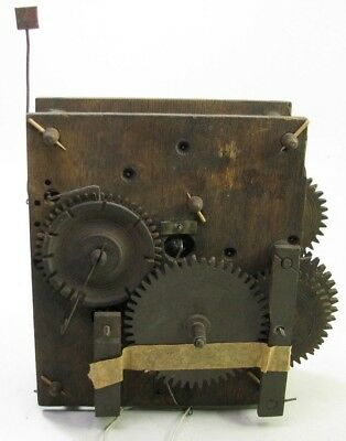 Antique Wooden Works Weight Driven Clock Movement Parts