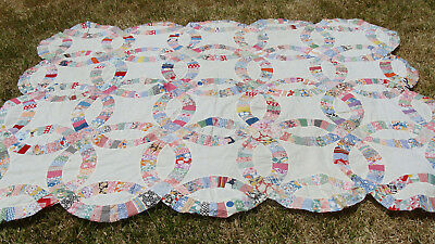"""antique Wedding Ring hand stitched quilt top,  87"""" x 73""""   *"""