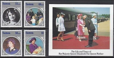 Samoa 1985 Queen Mother Set & Sheet UM Cat £7.65