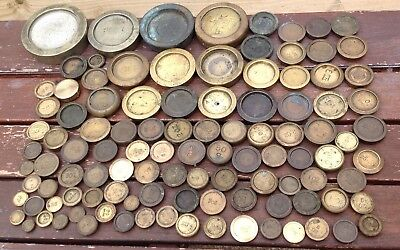 JOBLOT 107 vintage BRASS SCALES weights 7KG CRANE AVERY SIDDONS MOSTLY VICTORIAN