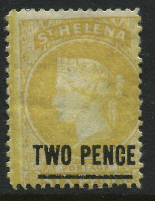 St.Helena QV 1882 2d on 6d yellow mint o.g.