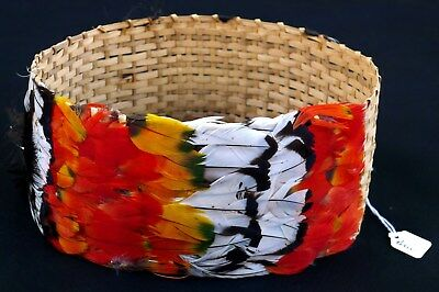 AGUARUNA JIVARO Tribe PERU Feather Headdress Headband Crown Amazon Museum Piece