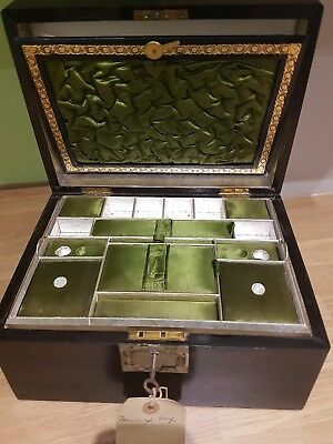 Antique Sewing Box With Mother Of Pearl Inlay And Nice Interior & Key