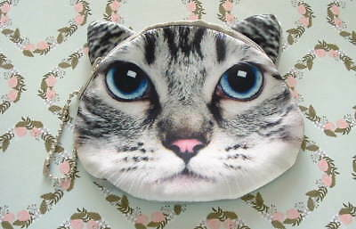 New Handcrafted Silver Gray Tabby Cat Kitten w/ Blue Eyes Change Coin Purse