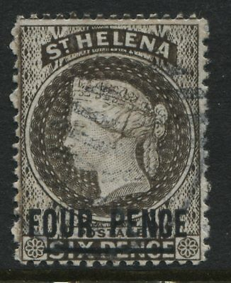St. Helena QV 1884 4d on 6d pale brown used