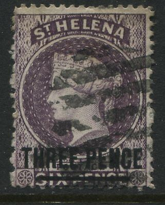 St. Helena QV 1887 3d on 6d deep violet used