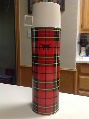 Vintage RETRO King Seeley Metal Thermos Glass Lined Bottle Red Tartan Plaid 2442