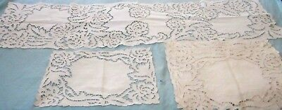 Antique  Hand Made Lace Table Runner & 11 Place Matts