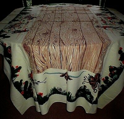 """Vintage Western Graphics Print Tablecloth, 50"""" X 84"""" Rectangle, Lovely!!"""