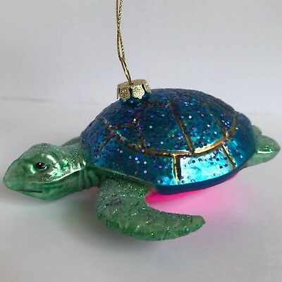Robert Stanley Glass Ornaments Blue Turtle Country Christmas Tree Decoration
