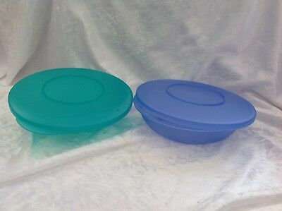 ORIGINAL TUPPERWARE Impressions 2 Salad Cereal Bowls with lids 1.7 cup 400ml
