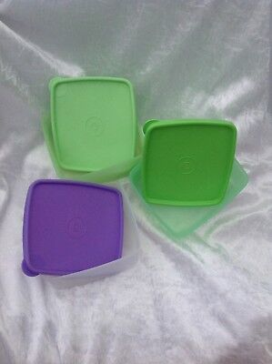 3 Tupperware square round freezer containers 400ml