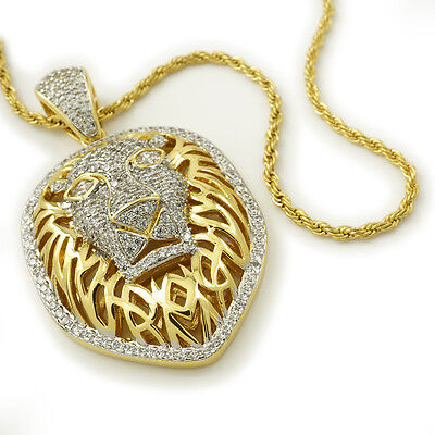 18K Gold Iced Out CZ Tiger King Lion Stainless Steel Rope Chain Pendant Necklace
