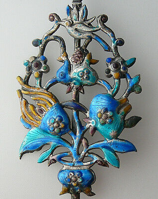 Antique Vintage Chinese Silver Enamel Hairpin Medicine Snuff Spoon Ornament